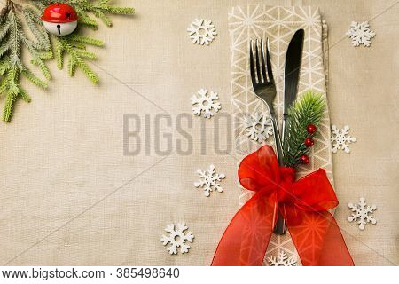 Christmas Food, Holiday Dinner Table Place Setting,