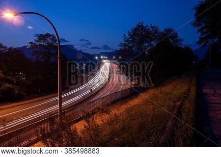 Long Exposure Picture Of Light Trails On The Second Narrow Bridge.   Vancouver Bc Canada
