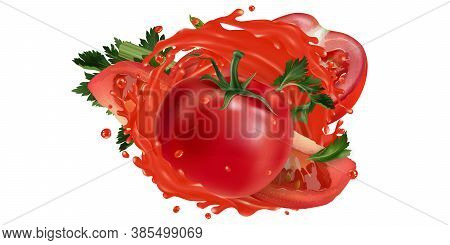 Tomatoes And Celery In A Vegetable Juice Splash.