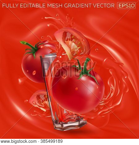 Tomatoes And A Glass With Splashing Tomato Juice.