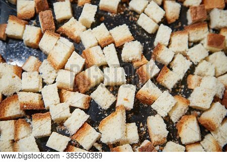 Square Toasted Pieces Of Homemade Delicious Rusk, Hardtack, Dryasdust, Zwieback On A Baking Sheet.