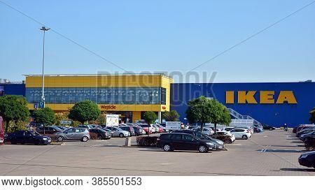 Warsaw, Poland. 15 Septemberr 2020. Sign Ikea. Company Signboard Ikea.