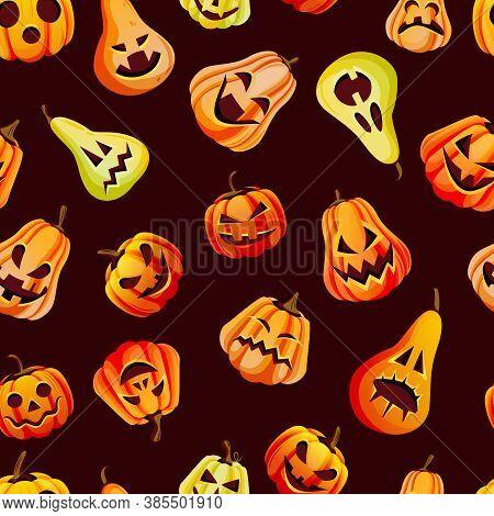 Halloween Emotion Pumpkins Seamless Pattern. Vector Illustration. Jack O Lanterns Face Expression On