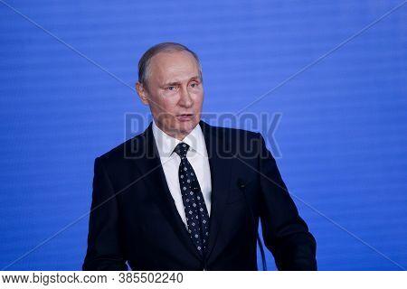 September, 2016 - Vladivostok, Russia - Russian President Vladimir Putin. Putin Answers Journalists'