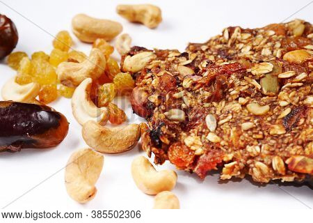Cookies Homemade Granola Snack. Healthy Food, Granola And Nuts.