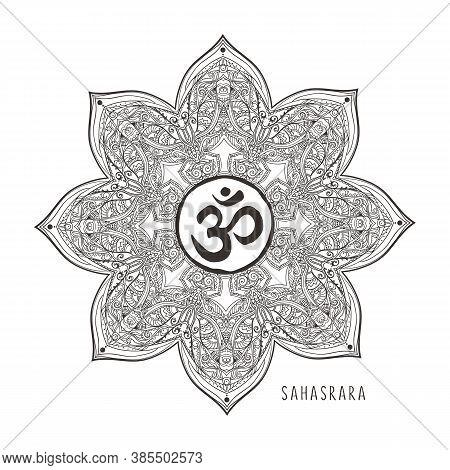 Sahasrara Seventh Chakra Vector Illustration. Crown Chakra Symbol. Black And White