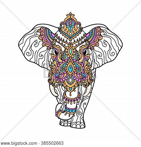 Boho Elephant Pattern. Vector Illustration. Floral Design, Hand Drawn Map With Elephant Ornamental