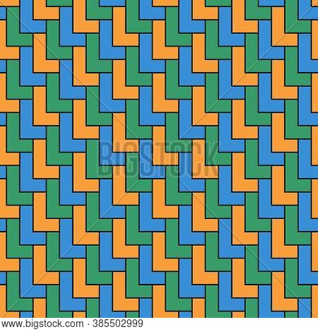 L Shape Color Blocks Wallpaper. Repeated Mosaic Figures On Black Background. Seamless Surface Patter