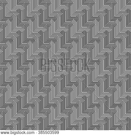 L Shape Blocks Wallpaper. Repeated Black Mosaic Figures On White Background. Seamless Surface Patter