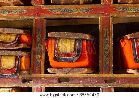 Sacred books. Library in Buddhist monastery.