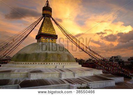 Boudhanath (Boudnath) Stupa at sunset. Kathmandu, Nepal