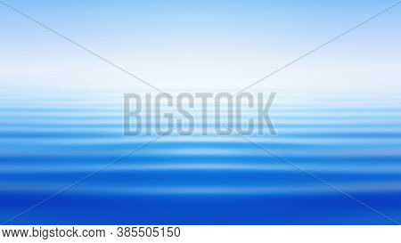 Abstract Motion Blurred Background - Blue Sea Waves Under Clear Sky. Misty Milky Haze Over A Calm Fl