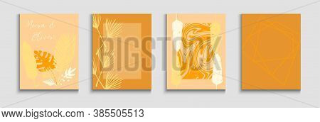 Abstract Elegant Vector Posters Set. Hand Drawn Retro Background. Tie-dye, Tropical Leaves Flyers. J
