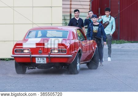 Classical Chevrolet Camaro Z28 Ss Mk1 Red With White Stripes. Admiring Passers. Saint_petersburg, Se