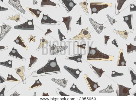 Seamless Pattern made of cool hand-drawn sport shoes in retro style. illustration. poster