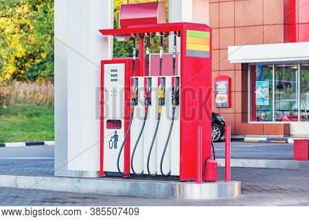 Gas And Petrol Station. Guns For Refueling At A Gas Station.