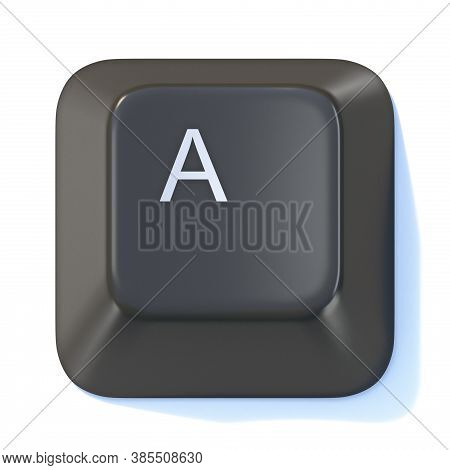 Black Computer Keyboard Key Letter A 3d Render Illustration Isolated On White Background