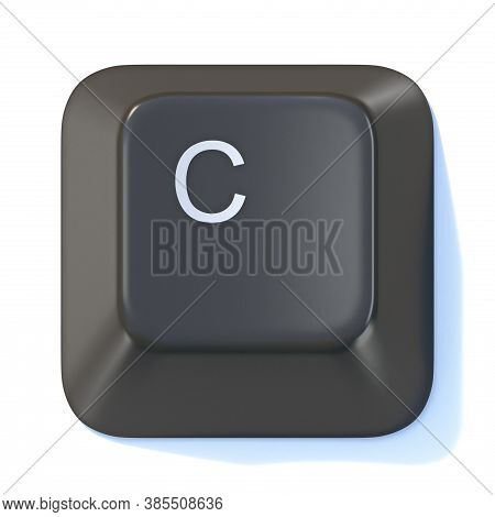 Black Computer Keyboard Key Letter C 3d Render Illustration Isolated On White Background