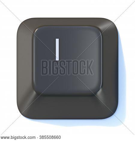 Black Computer Keyboard Key Letter I 3d Render Illustration Isolated On White Background