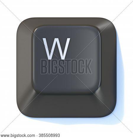 Black Computer Keyboard Key Letter W 3d Render Illustration Isolated On White Background