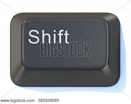 Black Computer Keyboard Shift Key 3d Render Illustration Isolated On White Background