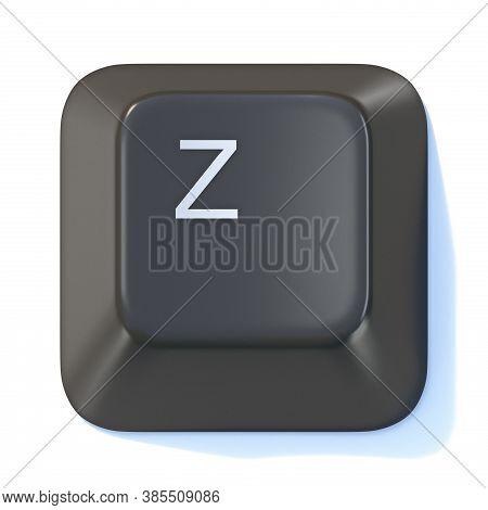 Black Computer Keyboard Key Letter Z 3d Render Illustration Isolated On White Background