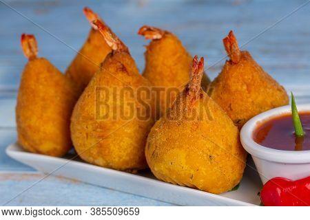 Delicious Shrimp Croquette Served With Sauce In Brazil Called Coxinha De Camarão.