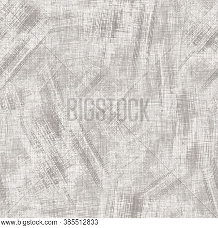 Seamless Mottled Gray French Woven Linen Texture Background. Old Ecru Natural Flax Fiber Pattern. Or