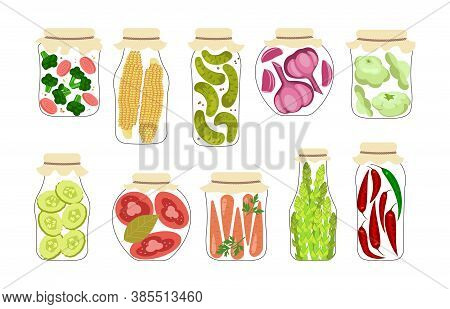 Set Of Jars With Homemade Pickled Vegetables. Home Canning Of Autumn Harvest. Pickles And Preserves