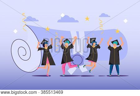 Graduated Concept, Tiny Students Wearing Academic Gown And Graduation Cap Celebrate Graduation. A Fo
