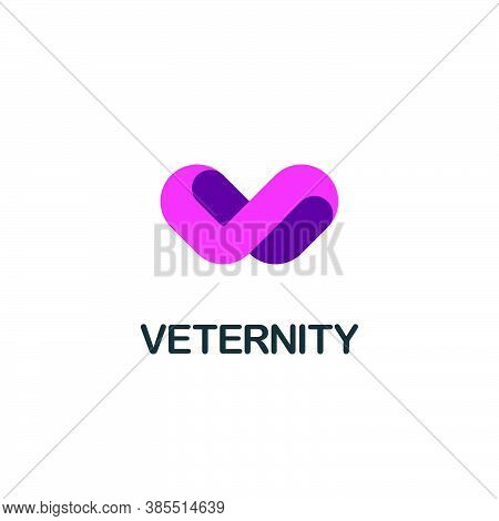 Isolated Letter V Symbol In Abstract Heart And Infinite Path Form. Three Dimensional Alphabet Logo D