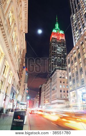 NEW YORK CITY, NY - DEC 30: Empire State Building and street on December 30, 2011 in New York City. It is a 102-story landmark and was world's tallest building for more than 40 years.