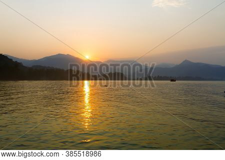 Sunrise In The Morning On Nature At Koh Chang Thailand. Koh Chang Is Located In The Eastern Gulf Of