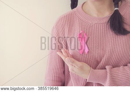 Woman Wearing Pink Top With Pink Ribbon, Breast Cancer Awareness, October Pink, World Cancer Day Con