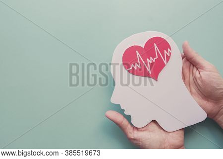 Hands Holding Paper Brain And Heart, World Heart Day, World Mental Health Day, Alzheimer And Wellnes