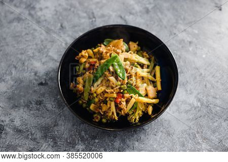 Healthy Plant-based Food Recipes Concept, Vegan Stir Fry With Plant-based Protein