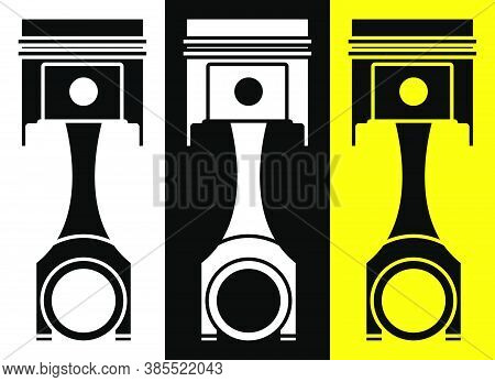 Car Engine Piston. Engine Operation, Oil Change, Car Service Inspection In Workshop. Icon In Flat St