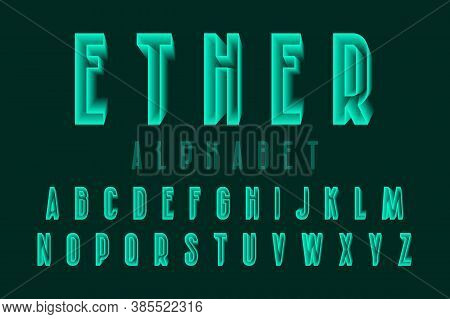 Ether Alphabet Of Green Translucent Letters. Urban 3d Font. Isolated English Alphabet.