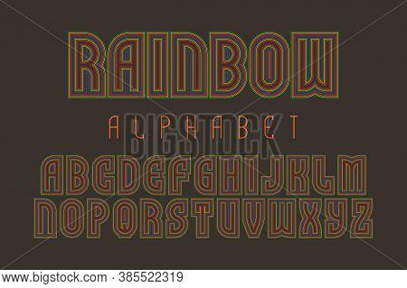 Rainbow Alphabet Of Multicolored Lines Letters. Iridescent Retro Font. Isolated English Alphabet.