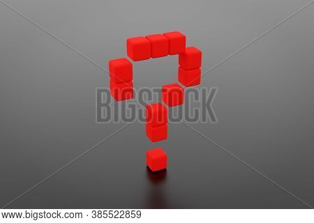 3d Illustration Of Messages In The Form Of A Question Mark On A Black Background. Illustration Of A