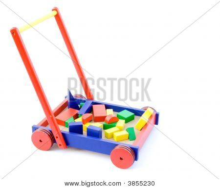Toy Building Blocks In A Cart