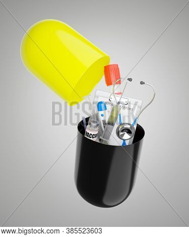 Medical Devices Spilled Out Of Large Black And Yellow Antibiotic Capsules On A Gray-white Background
