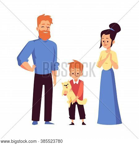Family Adopting Pet From Animal Shelter Flat Vector Illustration Isolated.