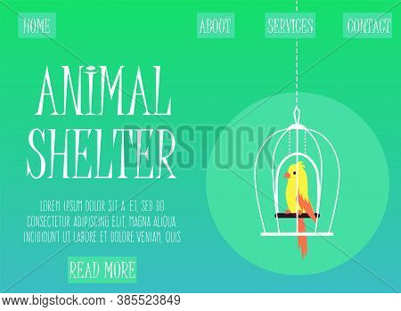 Web Banner For Animals Shelter With Parrot In Cage, Flat Vector Illustration.