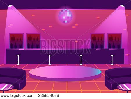 Empty Nightclub Or Bar With Counter And Dance Floor, Flat Vector Illustration.