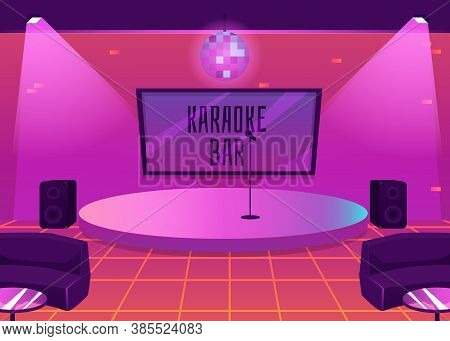 Karaoke Bar Interior With Stage For Music Performance Flat Vector Illustration.