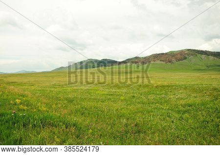 A Picturesque Valley With Tall Grass At The Foot Of A Mountain Range.
