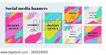 Trendy Editable Template For Social Networks Stories In Bright Colors. Design Backgrounds For Social
