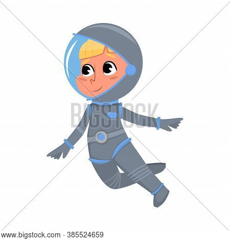 Cute Kid Astronaut In Outer Space Suit Floating In Space, Boy Playing Astronauts, Space Tourist Char