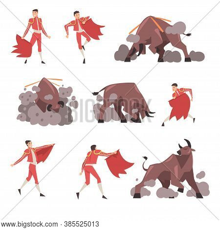 Bullfighter And Attacking Bull Set, Toreador, Picador Character Dressed In Traditional Costume, Span